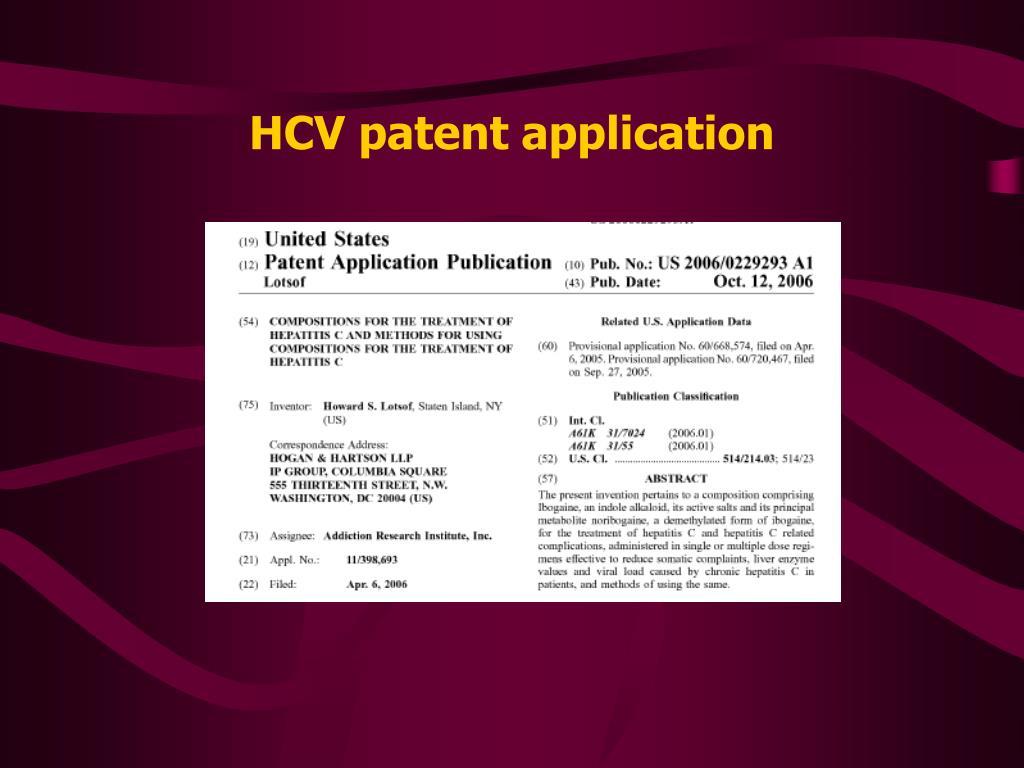 HCV patent application
