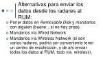alternativas para enviar los datos desde los radares al rum