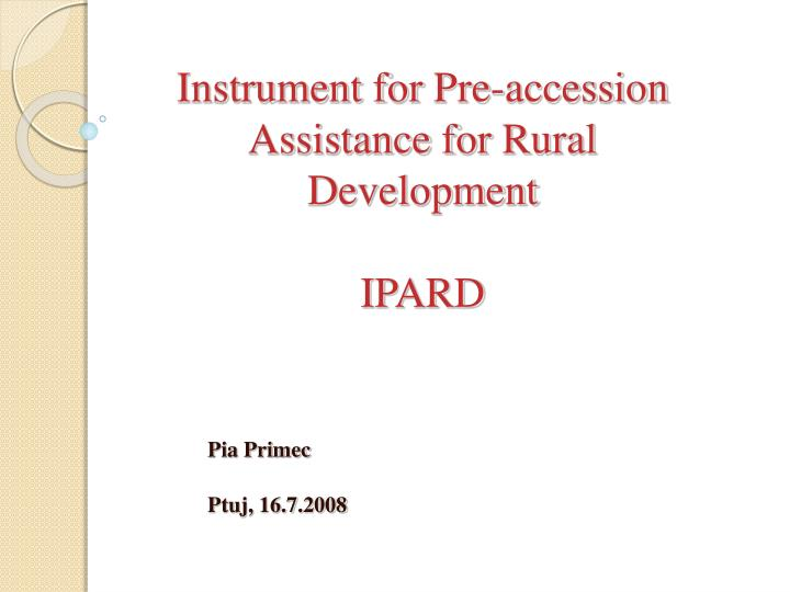instrument for pre accession assistance for rural development ipard n.