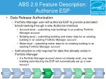 abs 2 0 feature description authorize esp