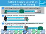 abs 2 0 feature description connect to pm building