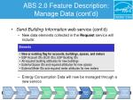 abs 2 0 feature description manage data cont d