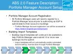 abs 2 0 feature description portfolio manager account setup