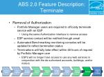 abs 2 0 feature description terminate