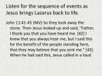 listen for the sequence of events as jesus brings lazarus back to life