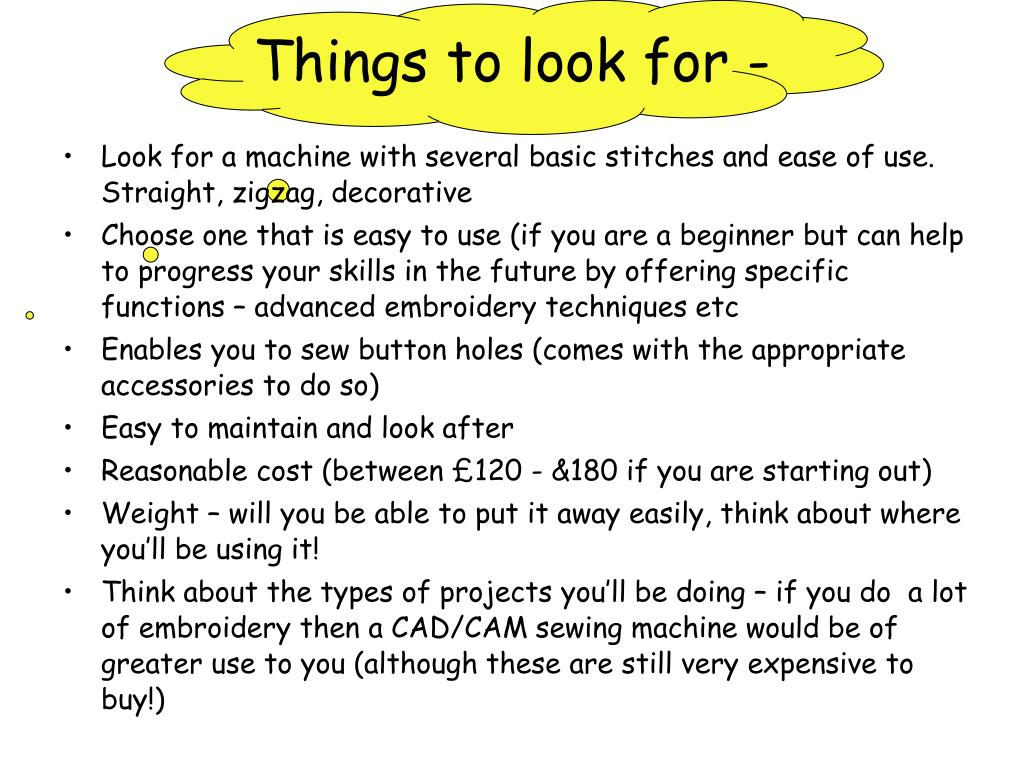 Things to look for -