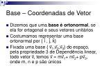 base coordenadas de vetor2
