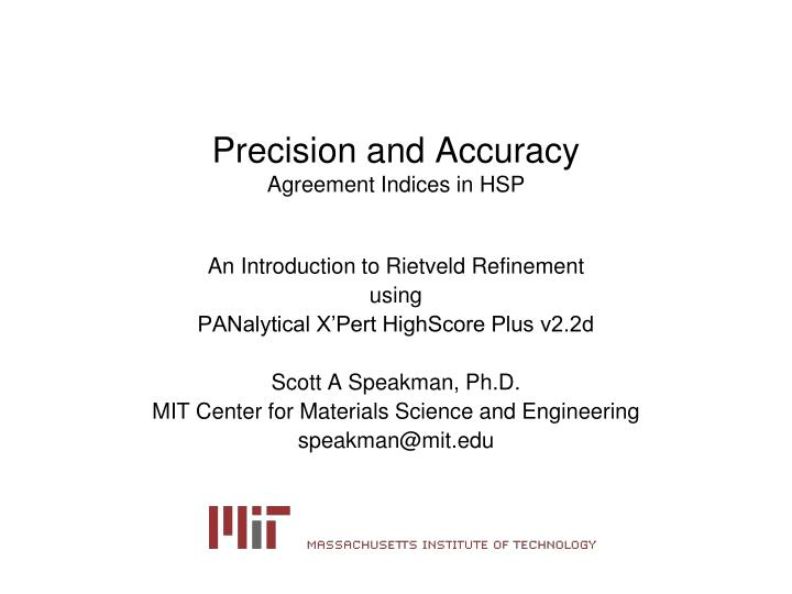precision and accuracy agreement indices in hsp n.
