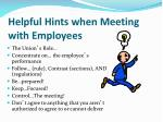 helpful hints when meeting with employees