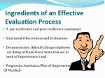 ingredients of an effective evaluation process