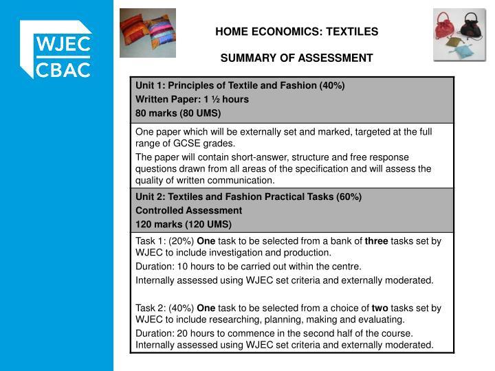 Home economics textiles summary of assessment