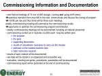 commissioning information and documentation