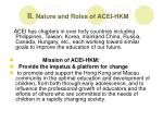 ii nature and roles of acei hkm