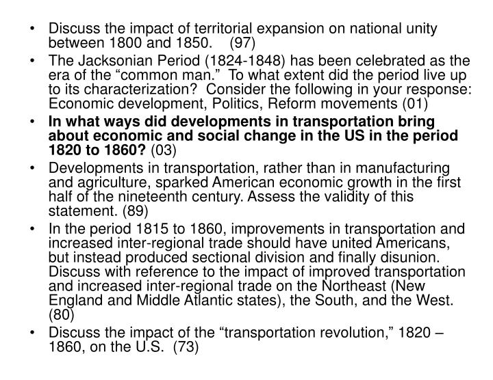 in the period 1815 1860 improvements in transportation Title: the transportation revolution: 1815-1860 volume 4 of the economic history of the united states issue 1347 of harper torchbooks volume 241 of the transportation.