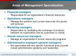 areas of management specialization1