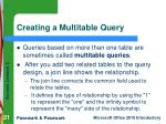 creating a multitable query