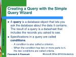 creating a query with the simple query wizard