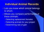 individual animal records