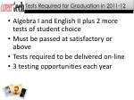 tests required for graduation in 2011 12
