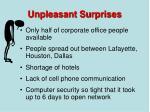 unpleasant surprises