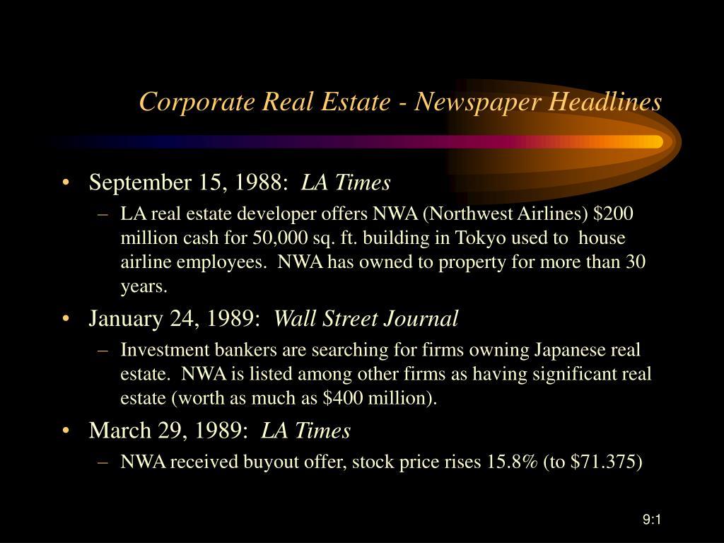corporate real estate newspaper headlines l.