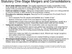 statutory one stage mergers and consolidations