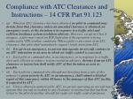 compliance with atc clearances and instructions 14 cfr part 91 123