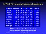 atpg cpu seconds for acyclic subclasses