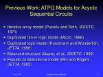 previous work atpg models for acyclic sequential circuits