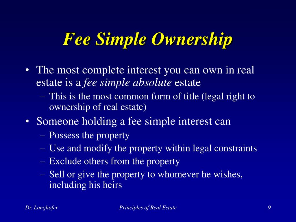 Fee Simple Ownership