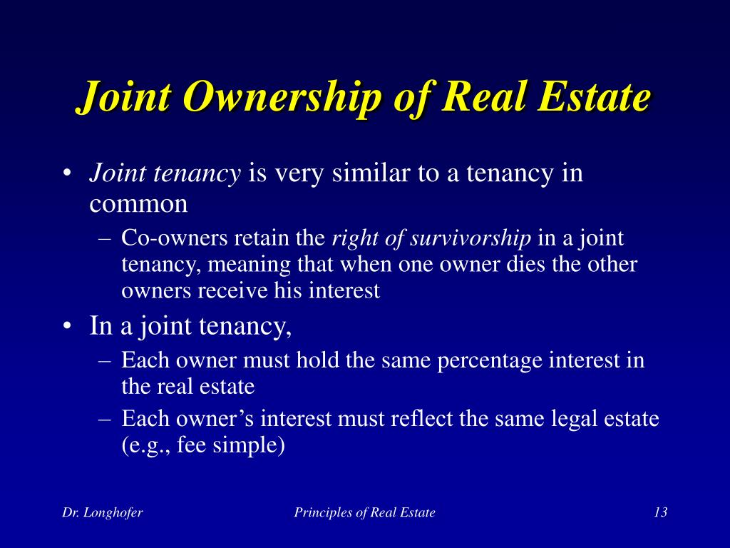 Joint Ownership of Real Estate
