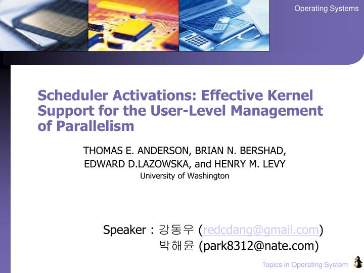 scheduler activations effective kernel support for the user level management of parallelism n.