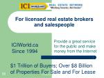 for licensed real estate brokers and salespeople