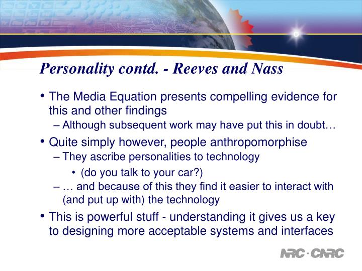 Personality contd. - Reeves and Nass