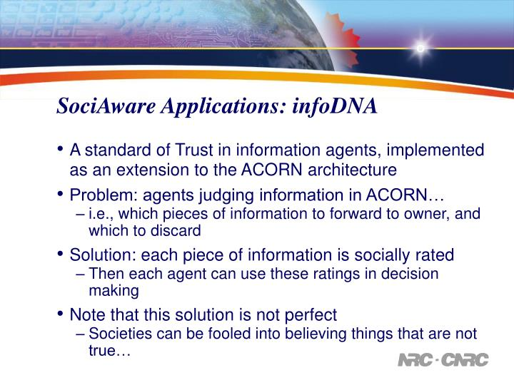 SociAware Applications: infoDNA