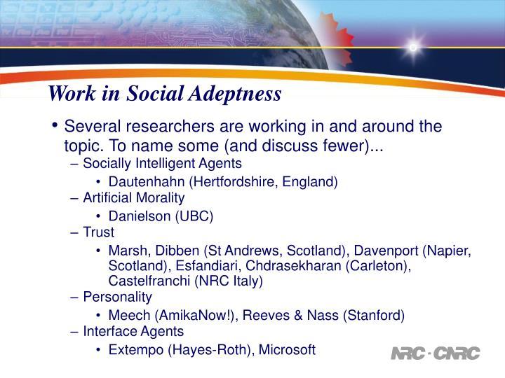 Work in Social Adeptness