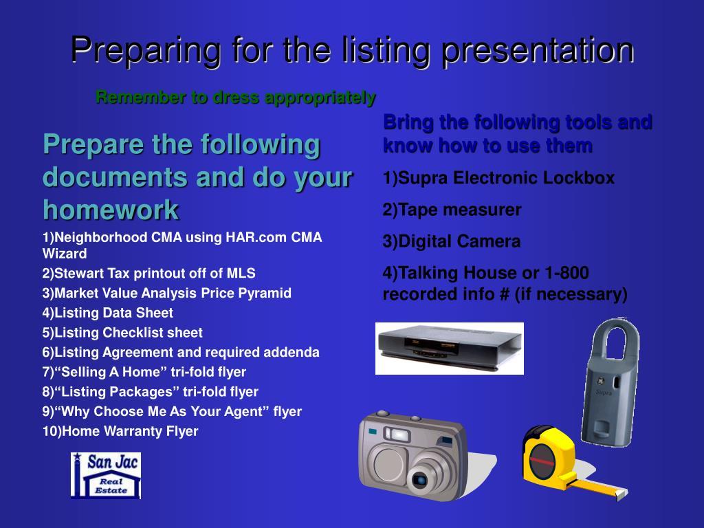 Preparing for the listing presentation