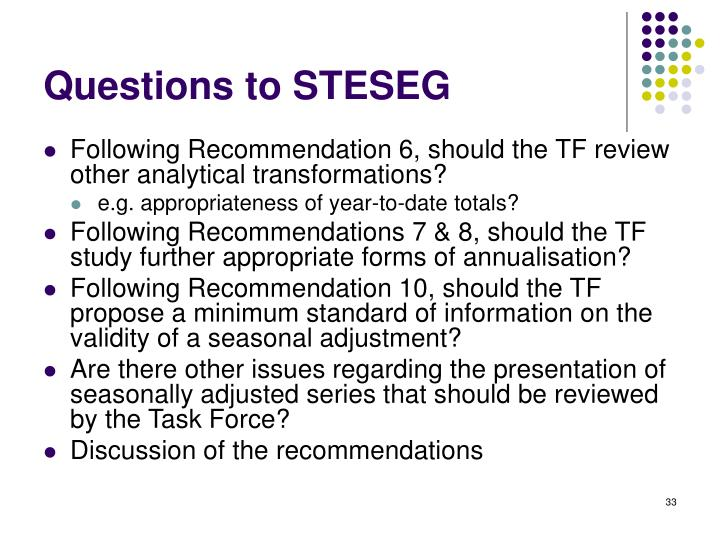 Questions to STESEG