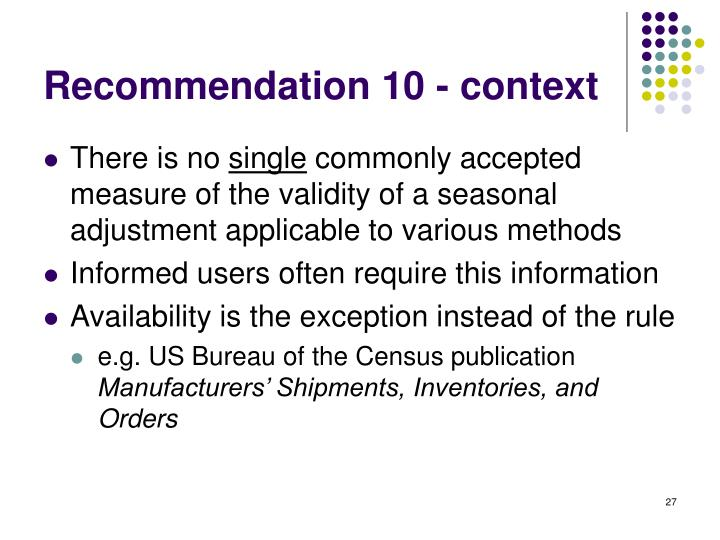 Recommendation 10 - context
