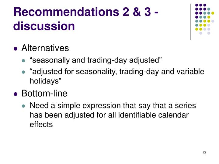 Recommendations 2 & 3 - discussion