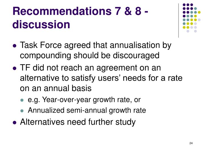 Recommendations 7 & 8 - discussion