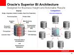 oracle s superior bi architecture designed for business insight and actionable results