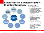 shift focus from individual projects to bi as core competency