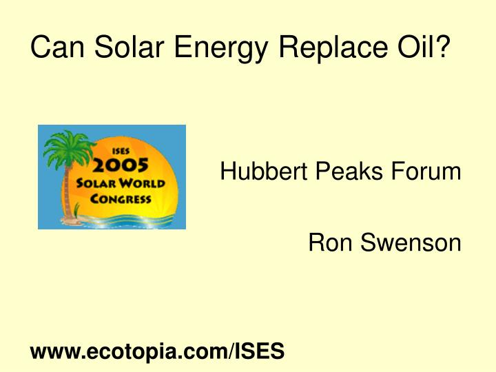 can solar energy replace oil n.