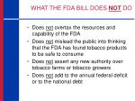 what the fda bill does not do