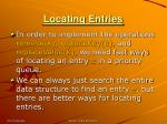 locating entries