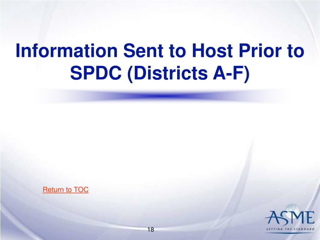 Information Sent to Host Prior to SPDC (Districts A-F)