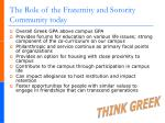 the role of the fraternity and sorority community today