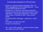 community volunteers in hiv services