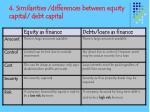 4 similarities differences between equity capital debt capital